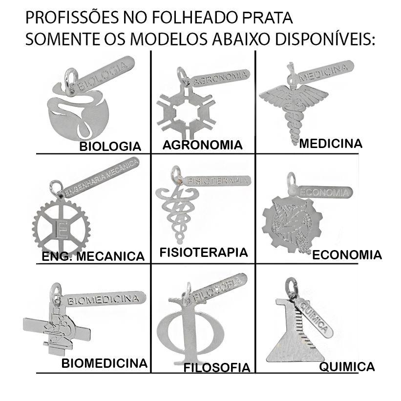 Kit 30 Peças Sendo 15 Pingentes Profissão e 15 Gargantilhas Folheadas