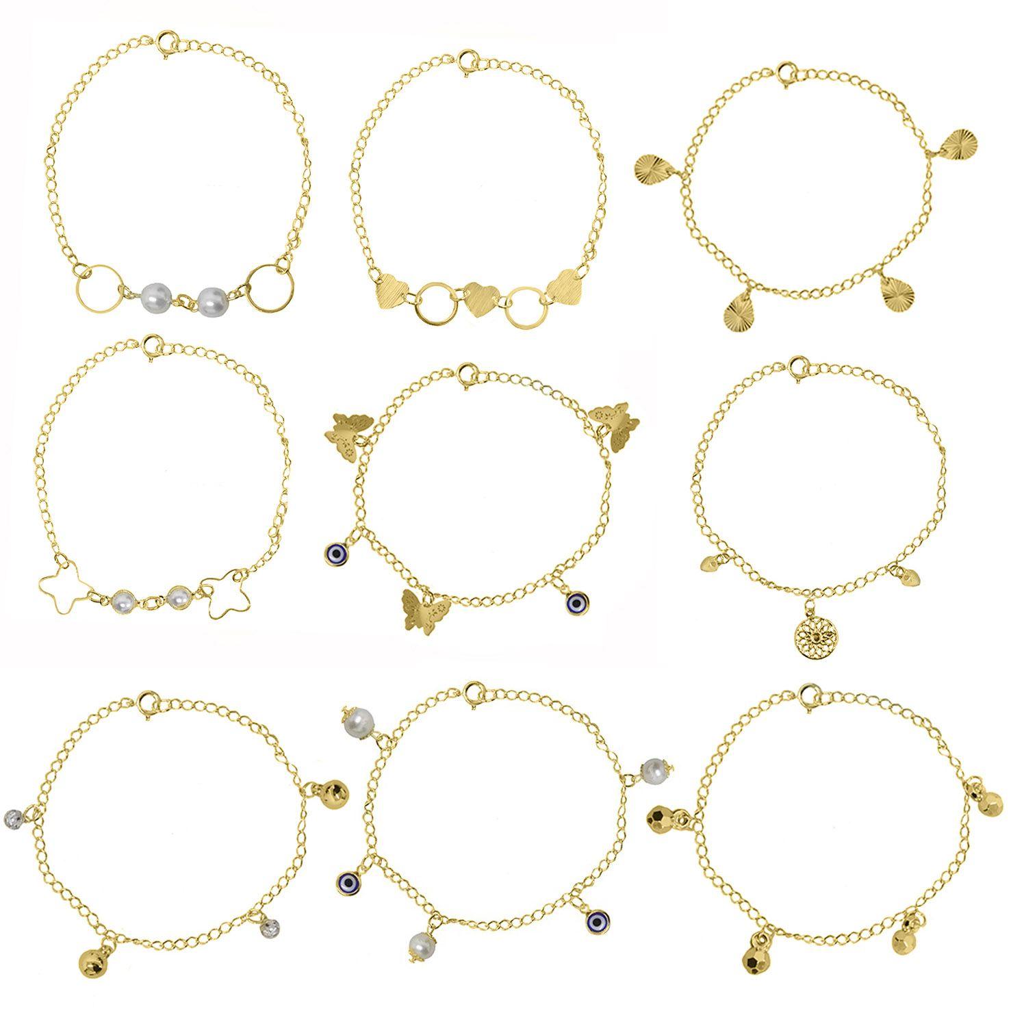 Kit Atacado 8 anéis, 8 pulseiras e 8 Gargantilhas Folheadas para Revenda