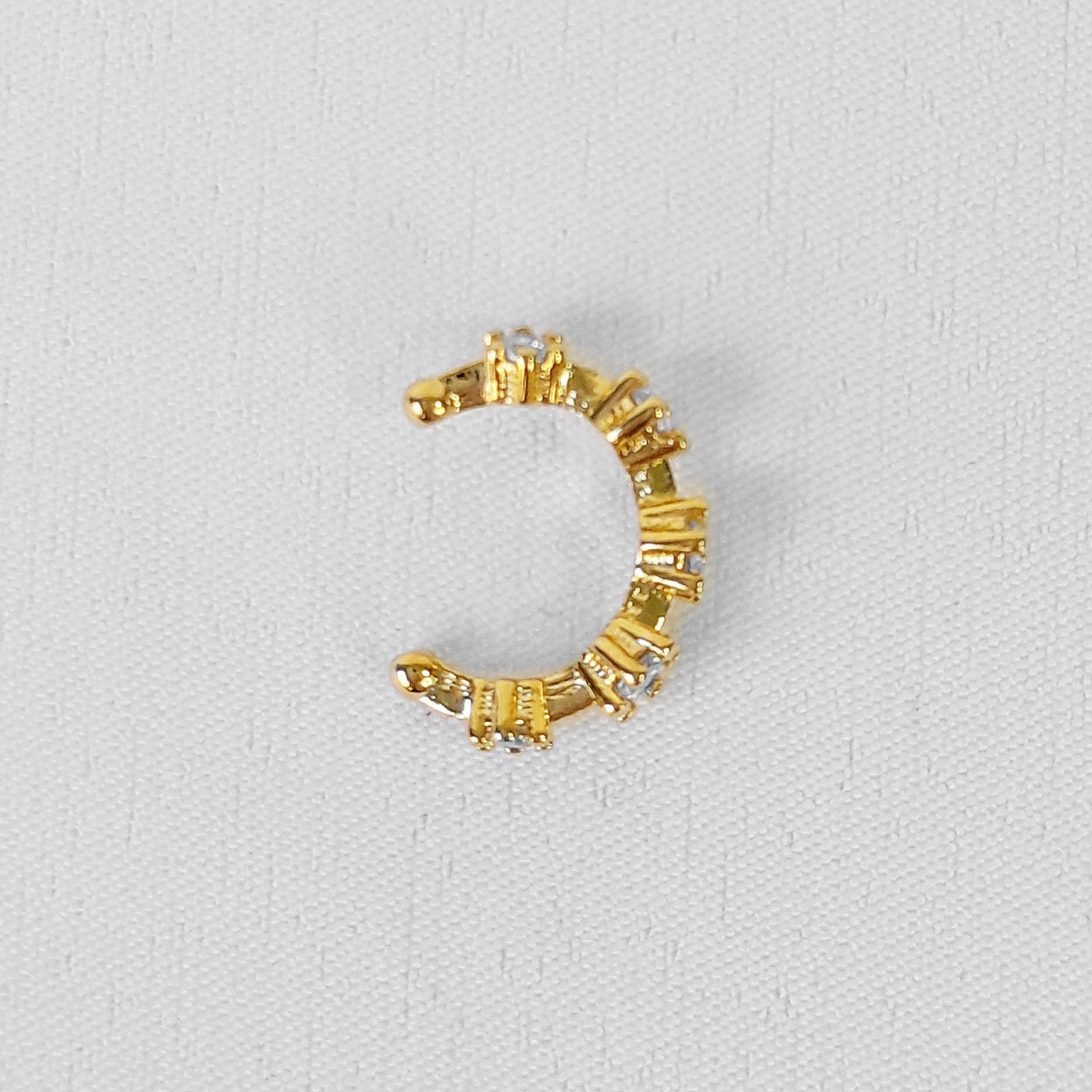 Piercing Fake 5 Pontos de Zircônia Folheado Ouro 18k  - Lunozê Joias