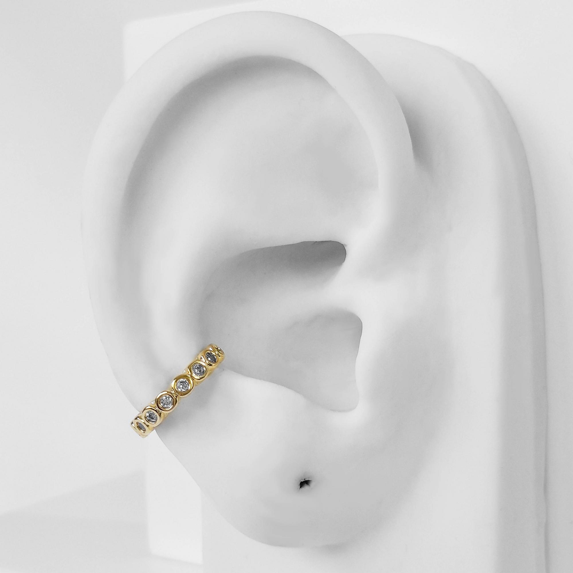 Piercing Fake Bolinhas Zircônia Folheado Ouro 18k  - Lunozê Joias