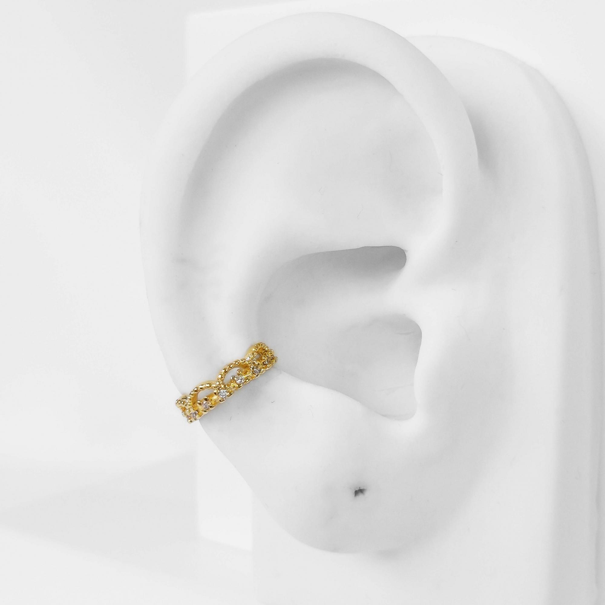 Piercing Fake Delicado com Zircônia Folheado Ouro 18k  - Lunozê Joias