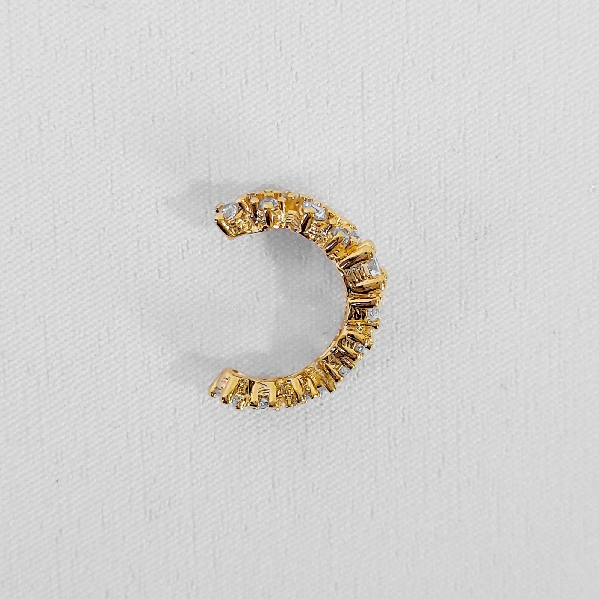 Piercing Fake Dupla Fileira de Zircônia Folheado Ouro 18k  - Lunozê Joias