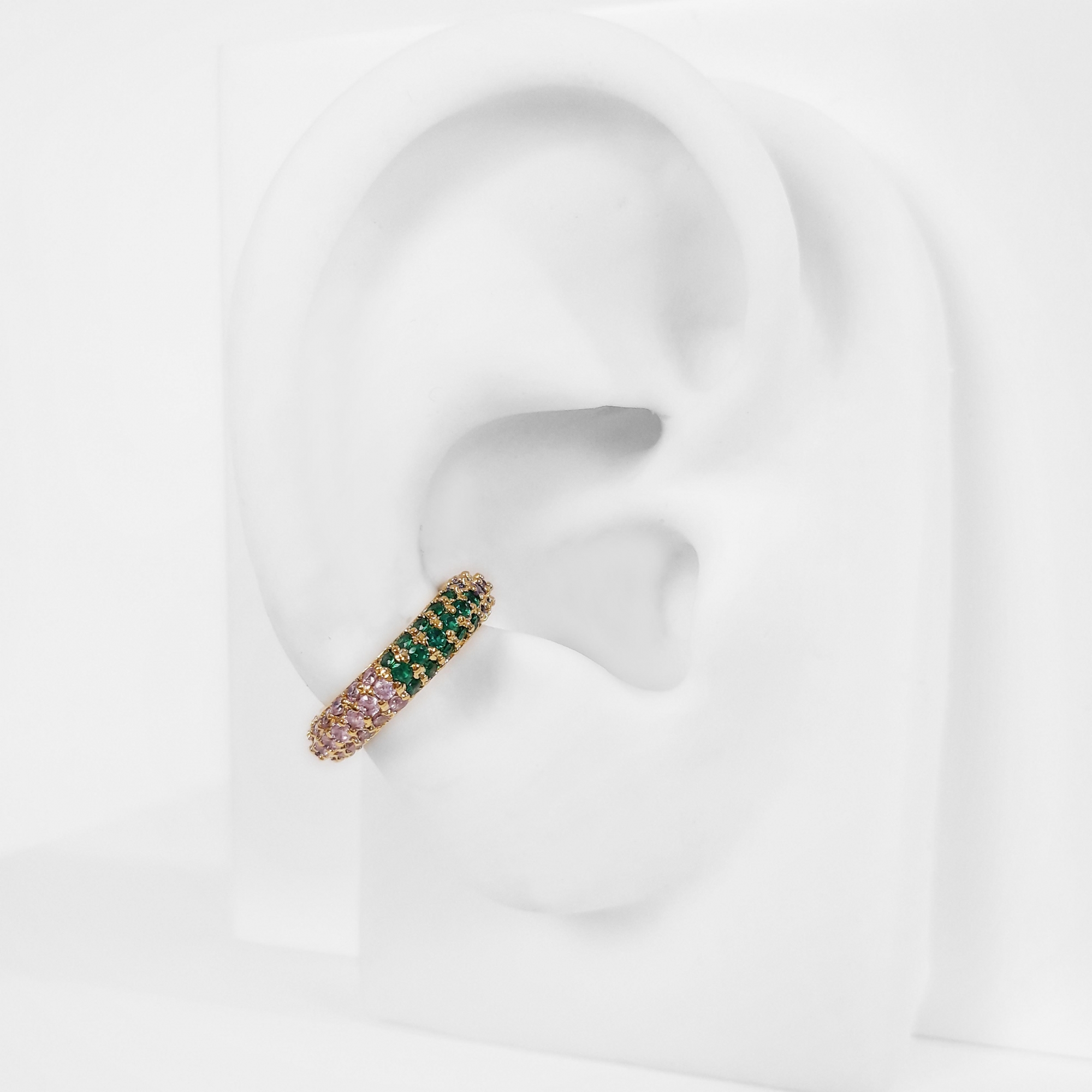 Piercing Fake Ear Hook Argola Cravejado Folheado a Ouro 18k  - Lunozê Joias