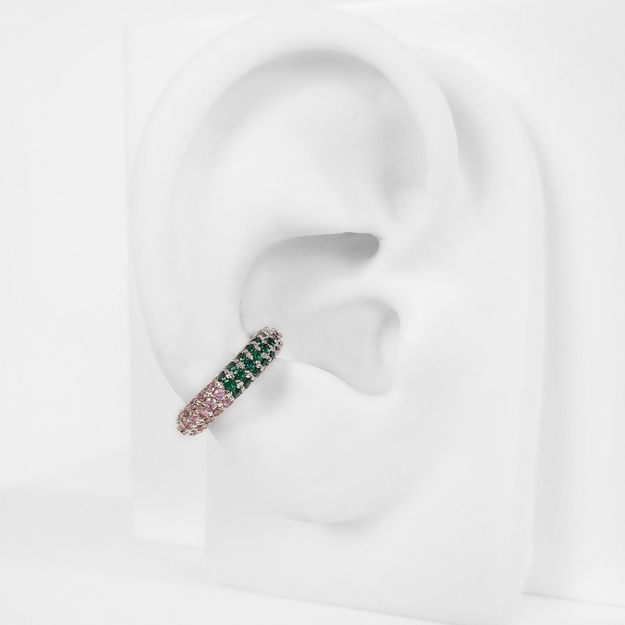 Piercing Fake Ear Hook Argola Cravejado Folheado Prata 1000  - Lunozê Joias