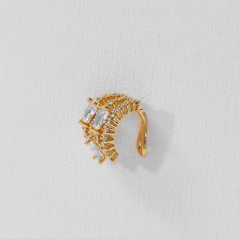 Piercing Fake Largo com 3 Gotas Folheado Ouro 18k  - Lunozê Joias