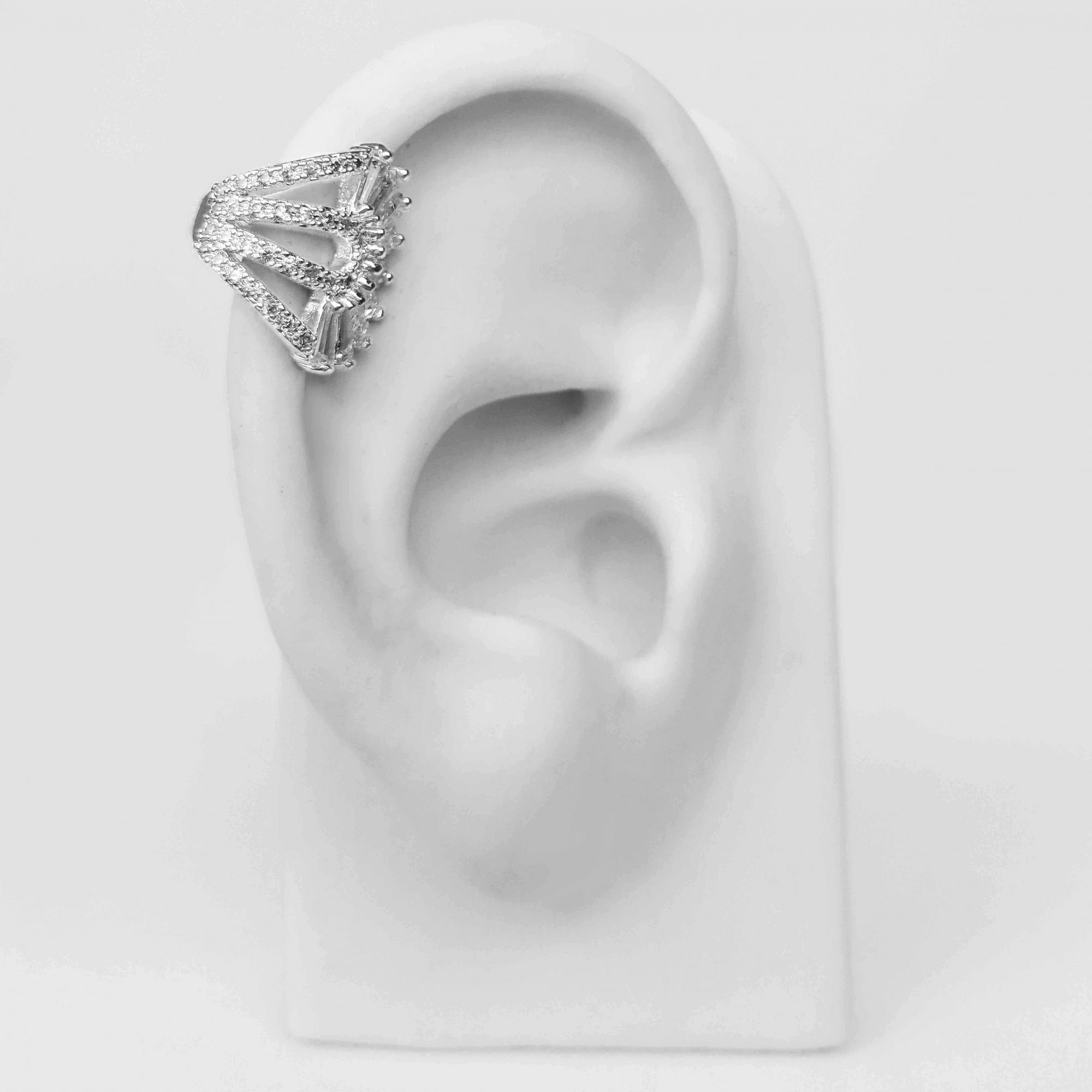 Piercing Fake Leque de Zircônias Folheado a Prata 1000  - Lunozê Joias