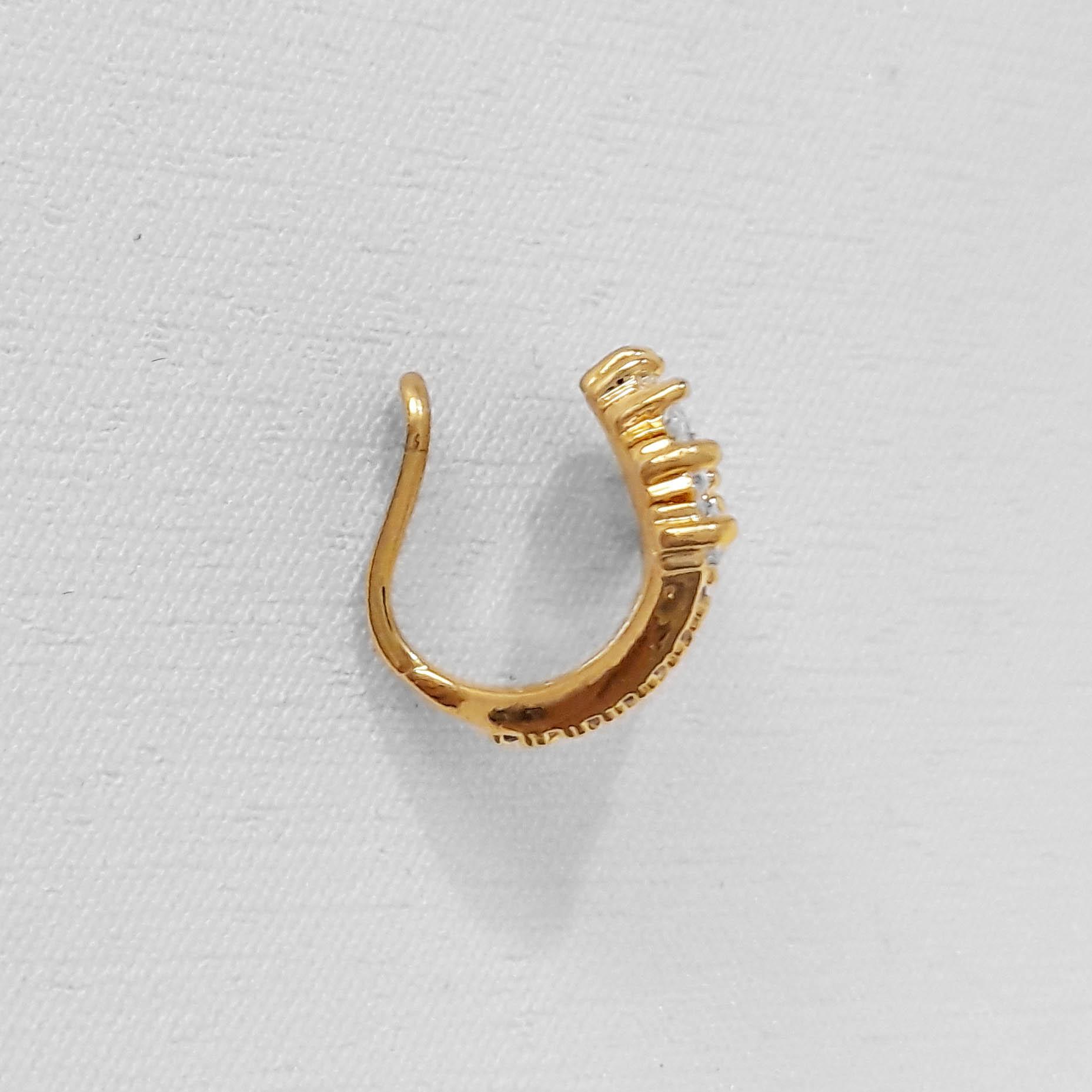 Piercing Fake Leque de Zircônias Folheado Ouro 18k  - Lunozê Joias