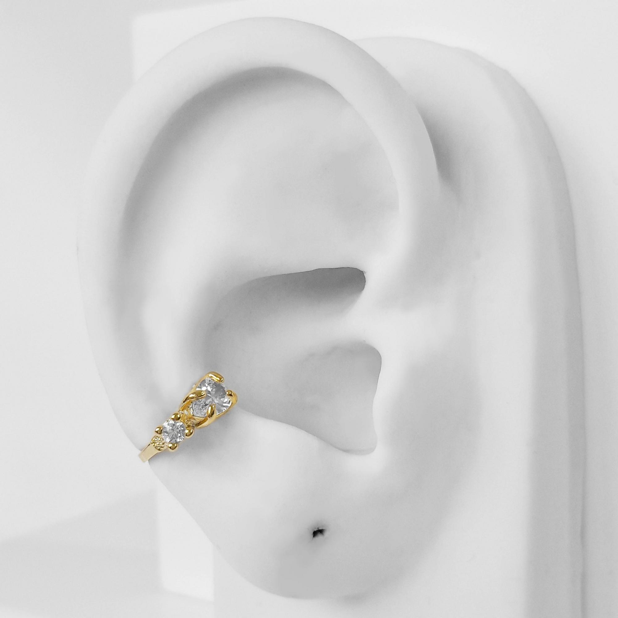 Piercing Fake Zircônia Gota e Quadrado Folheado Ouro 18k  - Lunozê Joias