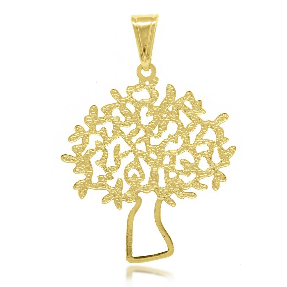 Pingente Árvore da Vida Vazada Folheado A Ouro 18K