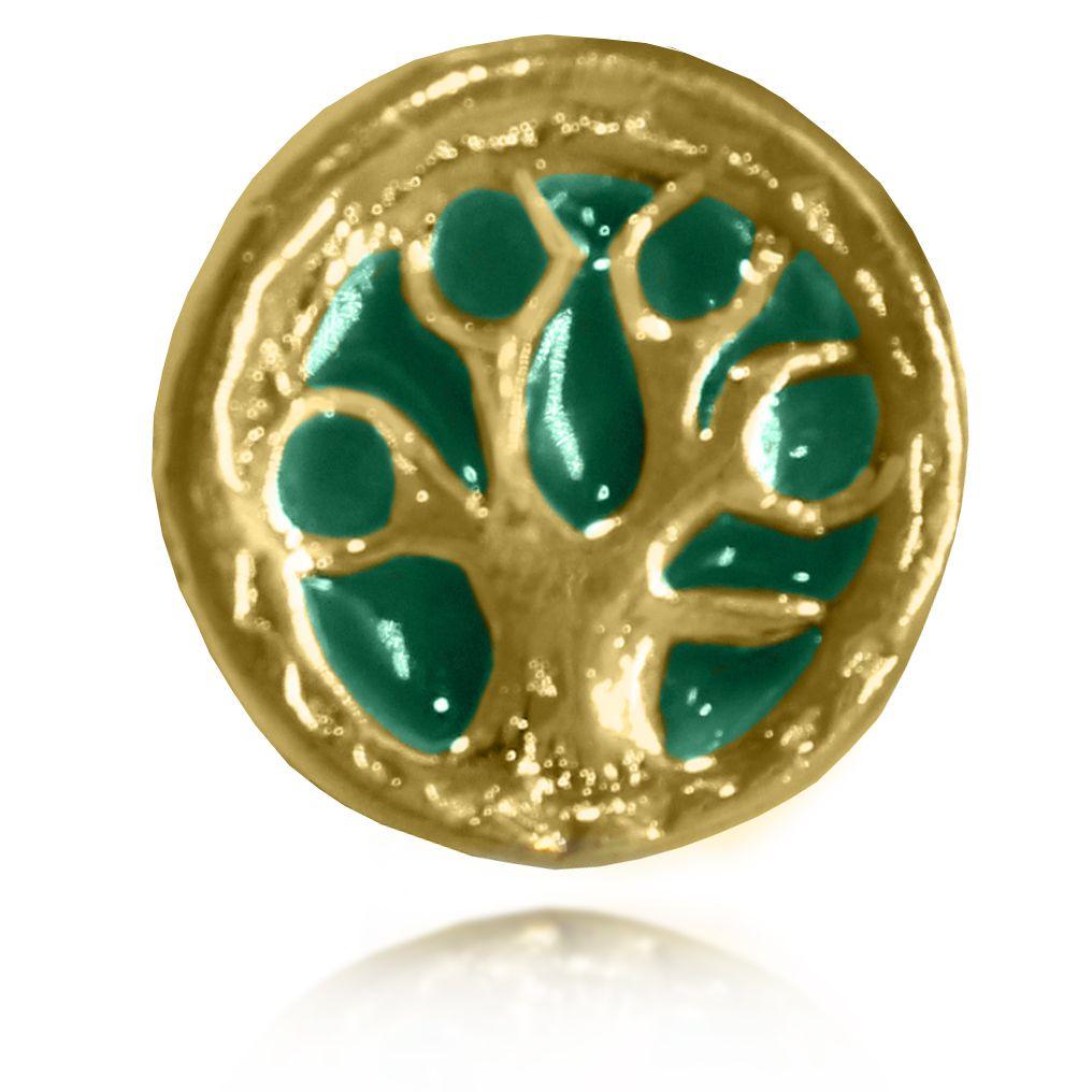 Pingente Berloque Árvore da Vida Folheado a Ouro 18k