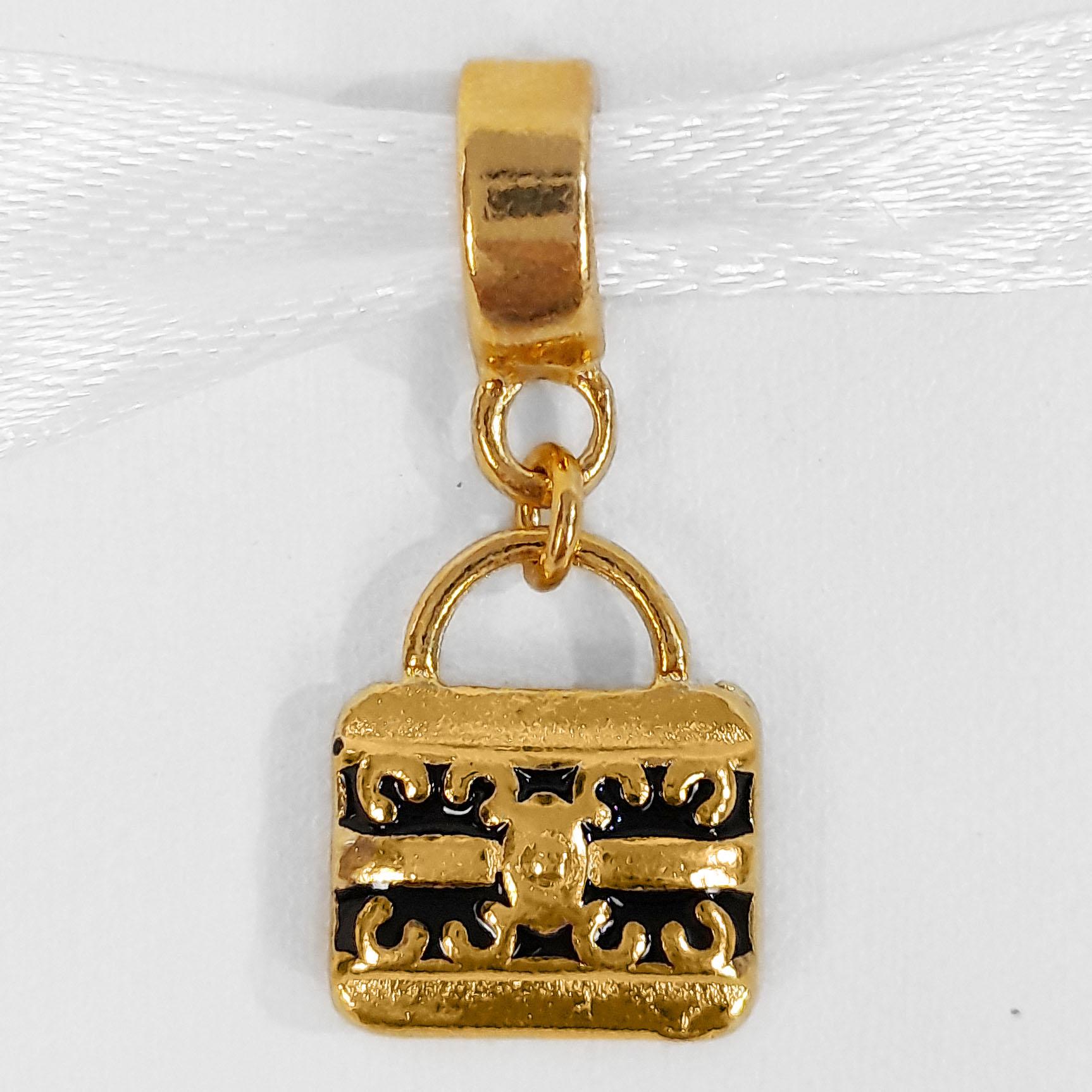 Pingente Berloque Bolsa Folheado a Ouro 18k  - Lunozê Joias