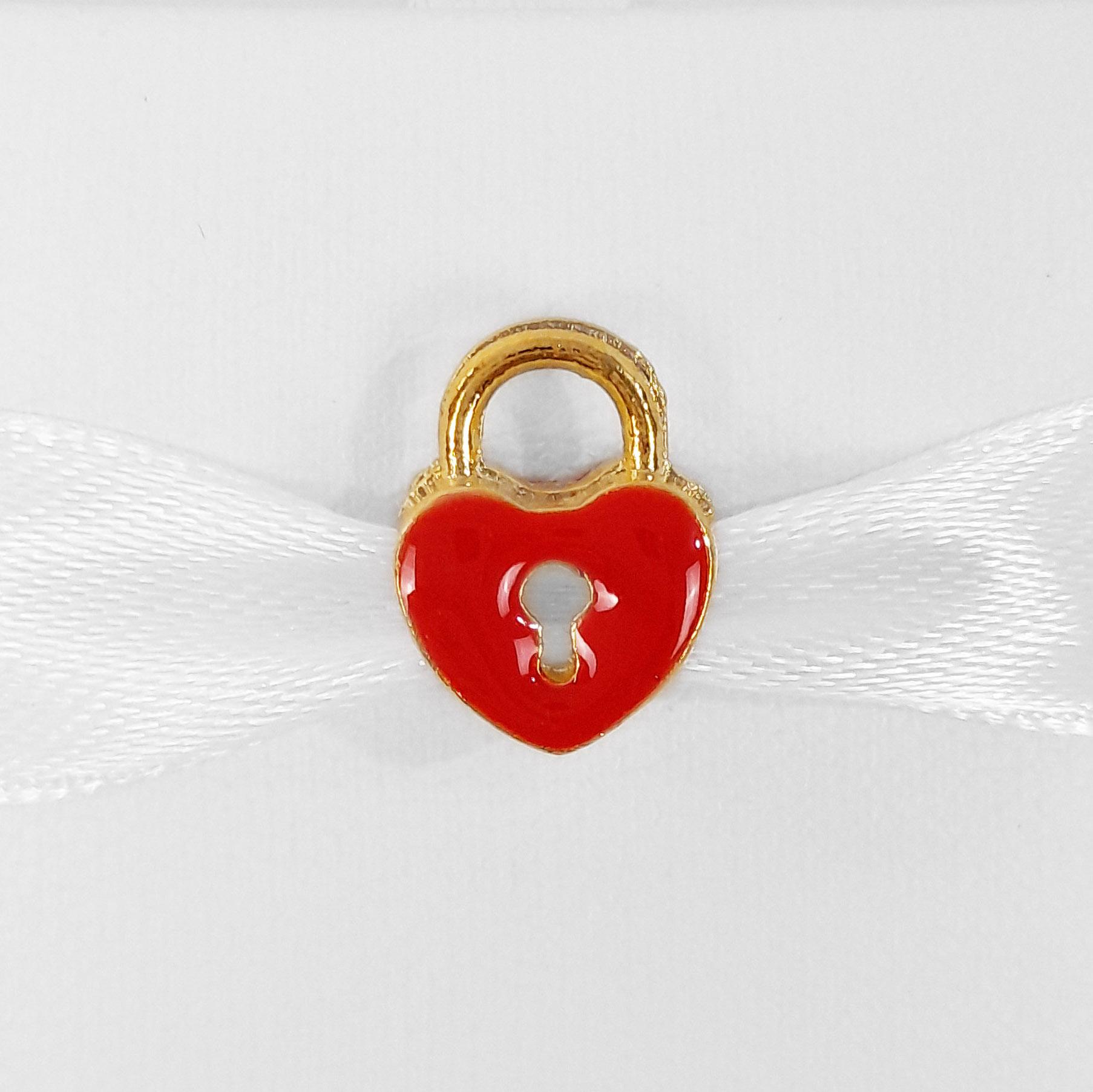 Pingente Berloque Cadeado de Coração Folheado a Ouro 18k  - Lunozê Joias