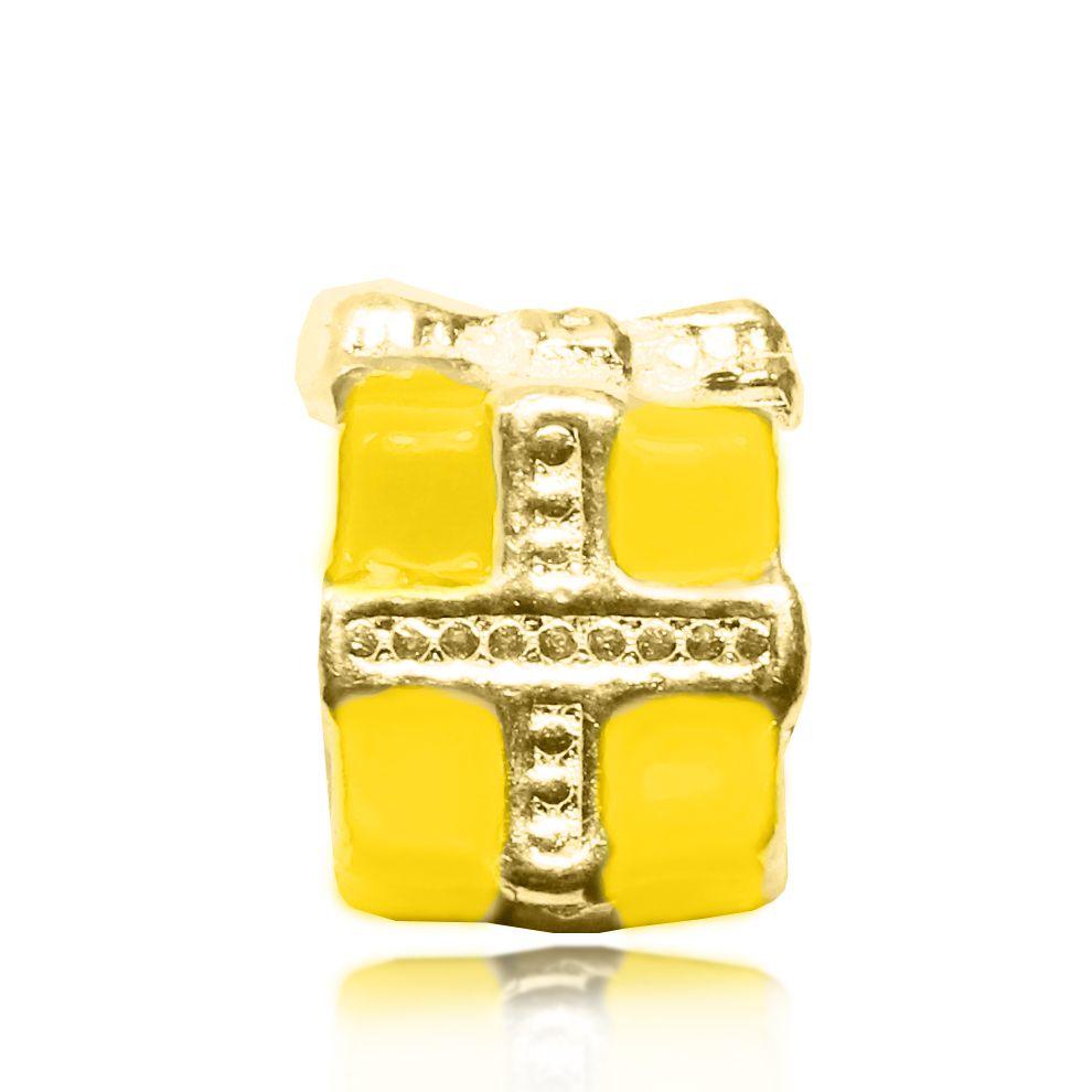 Pingente Berloque Caixa de Presente Folheado a Ouro 18k
