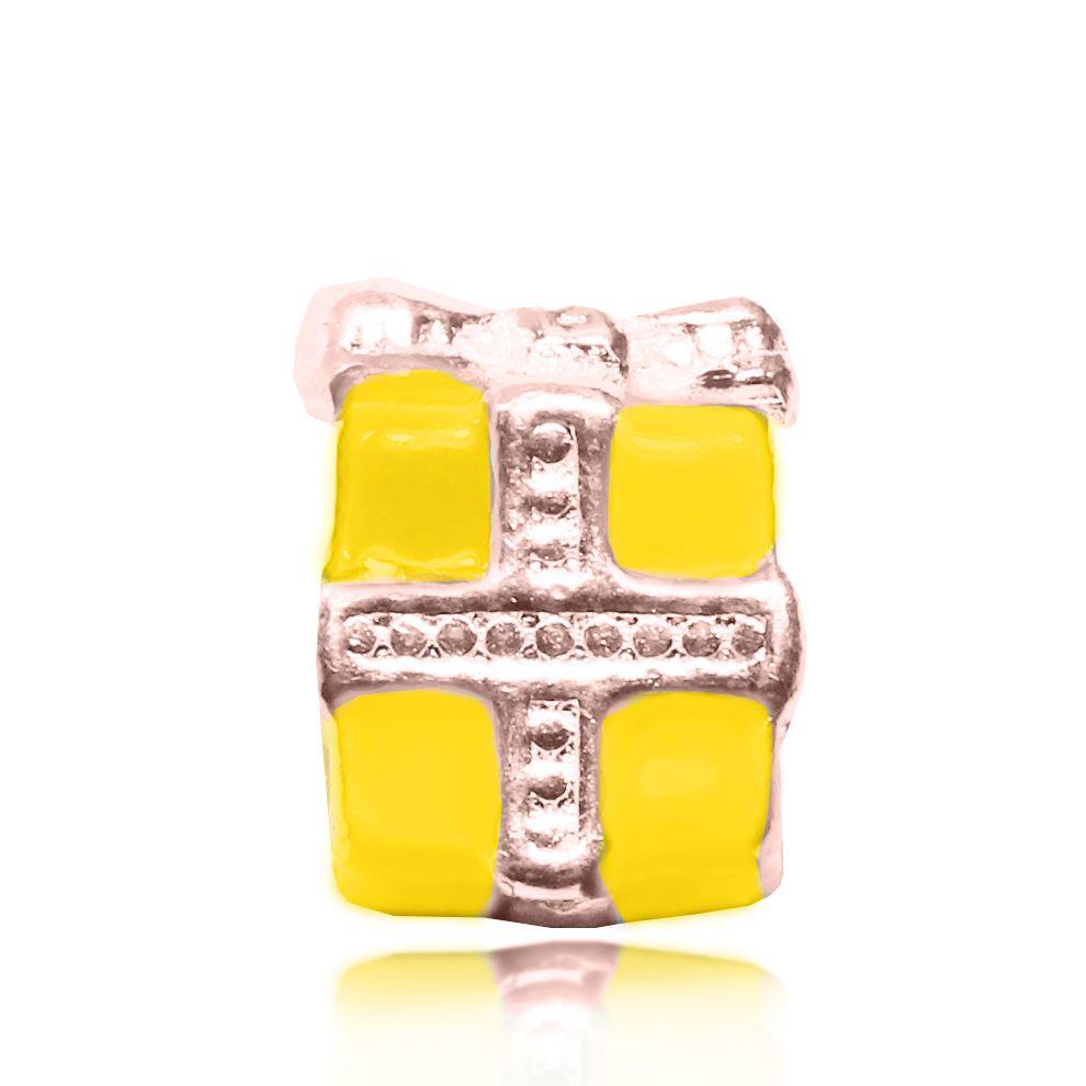Pingente Berloque Caixa de Presente Folheado a Ouro Rosé