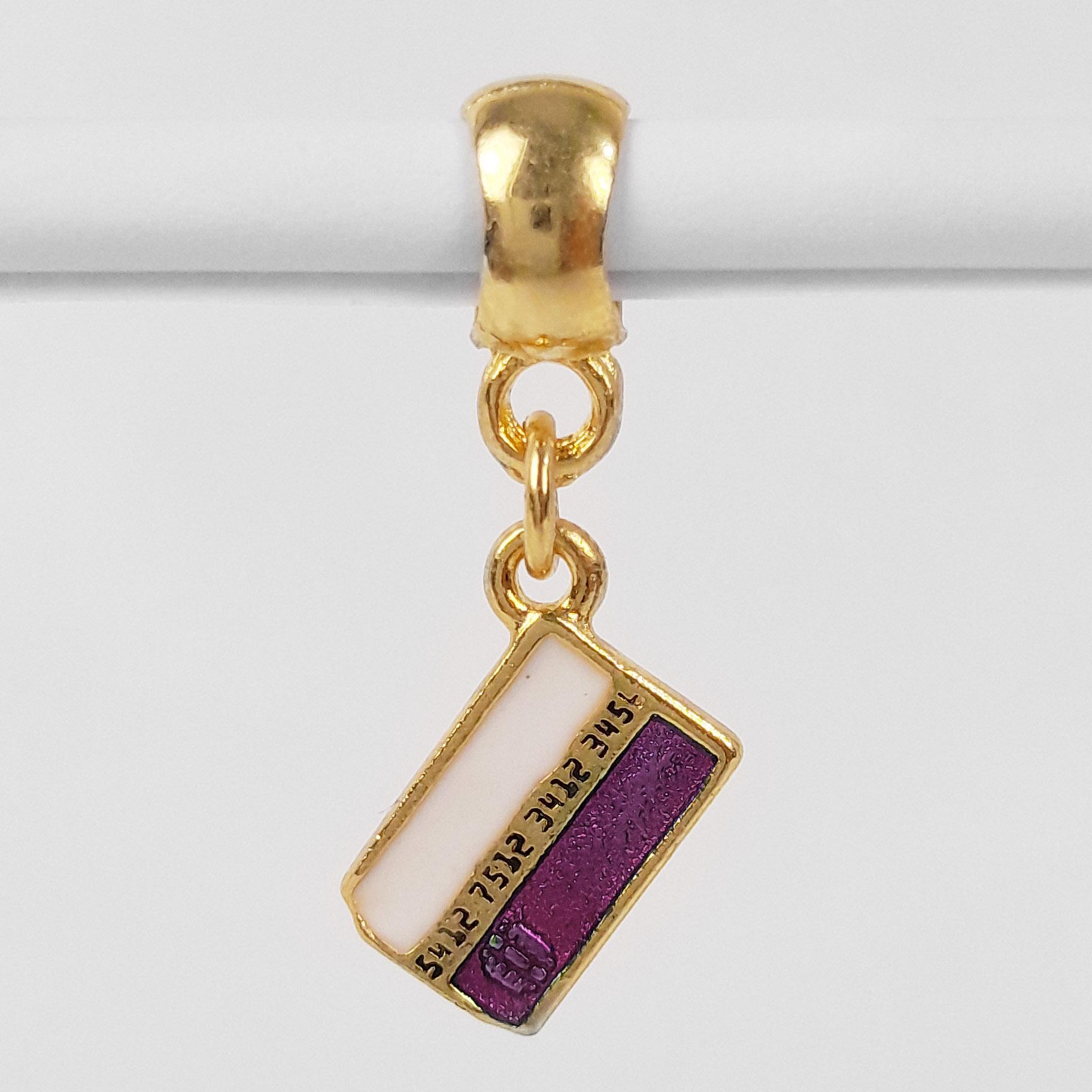 Pingente Berloque Cartão de Crédito Folheado a Ouro 18k  - Lunozê Joias