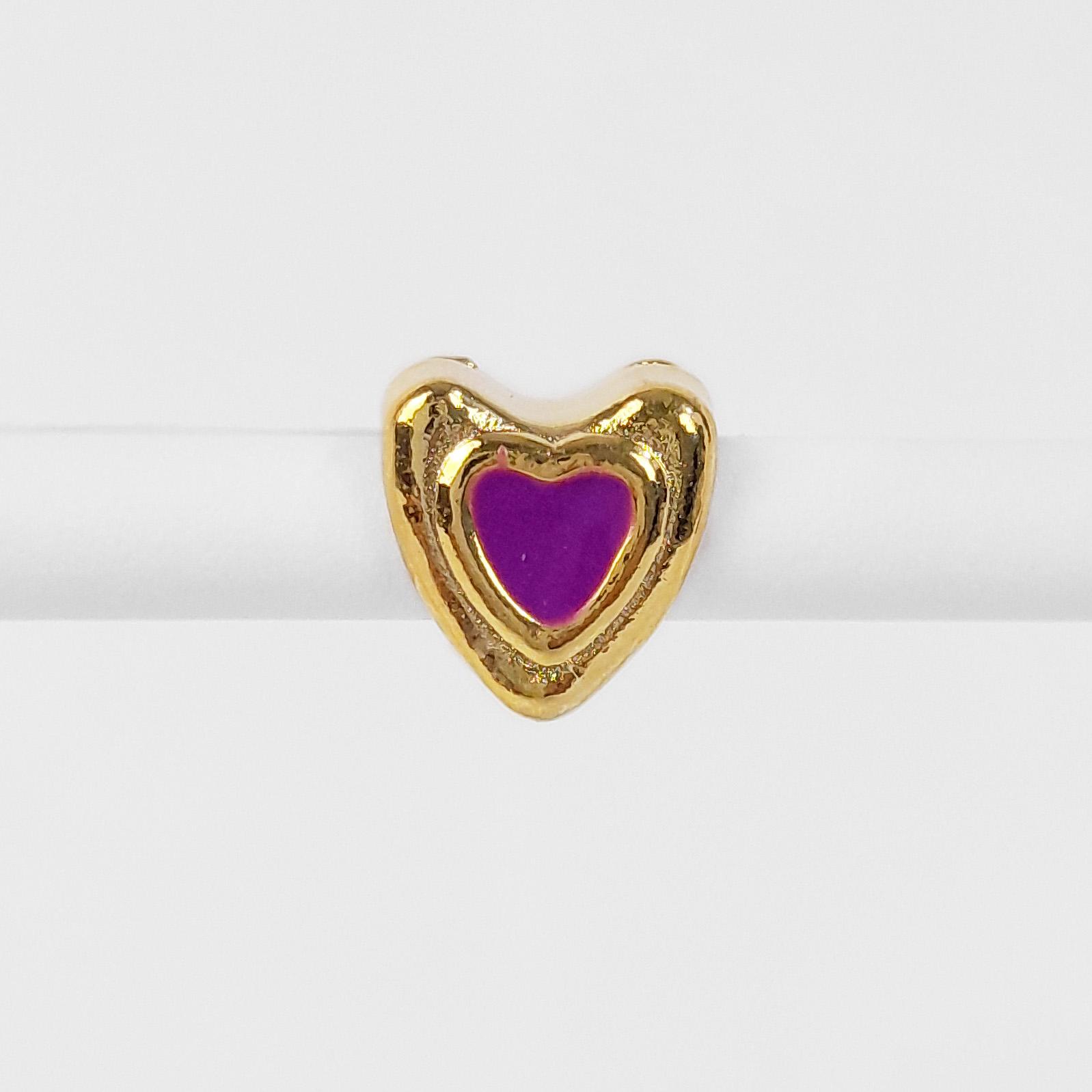Pingente Berloque Coração Folheado a Ouro 18k  - Lunozê Joias