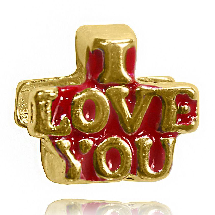 Pingente Berloque I Love You Folheado Ouro 18k