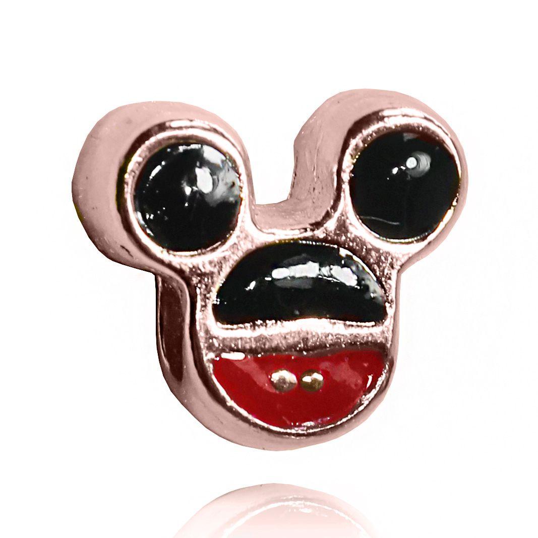 Pingente Berloque Mickey Color Folheado Ouro Rosé