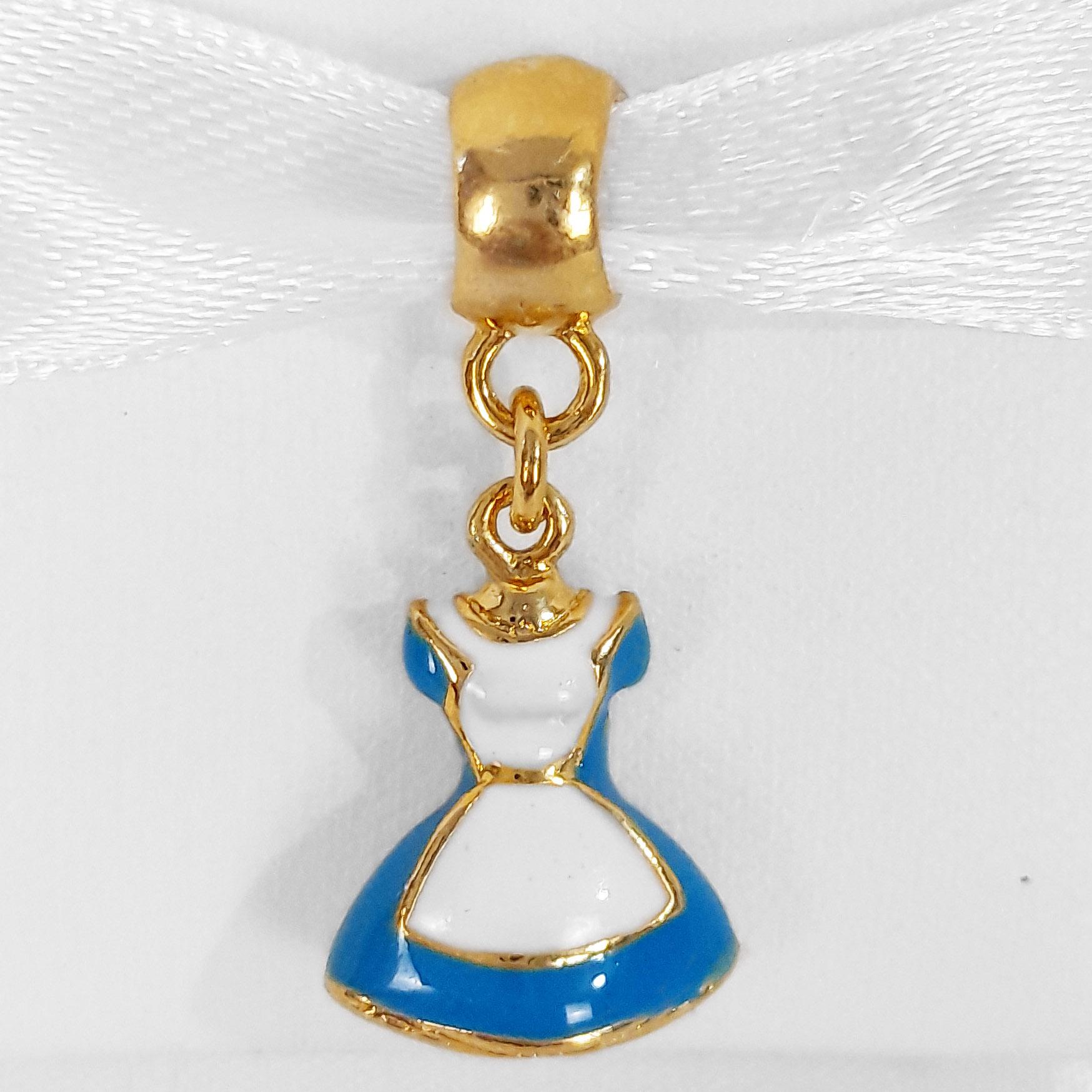 Pingente Berloque Vestido Alice Folheado a Ouro 18k  - Lunozê Joias