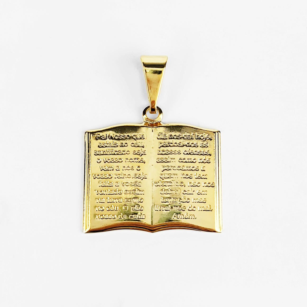 Pingente Bíblia Sagrada Oração Pai Nosso Folheado Ouro 18k  - Lunozê Joias