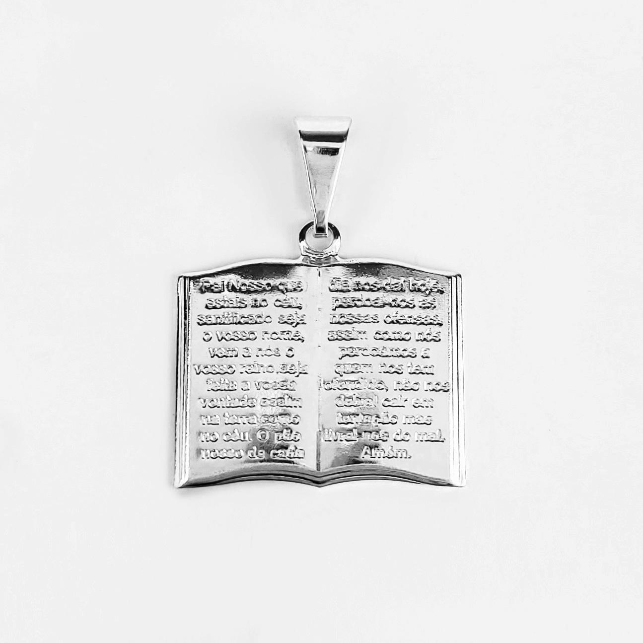 Pingente Bíblia Sagrada Oração Pai Nosso Folheado Prata 1000  - Lunozê Joias