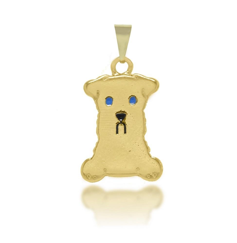 Pingente Cachorro Olhos Azuis Folheado a Ouro 18k