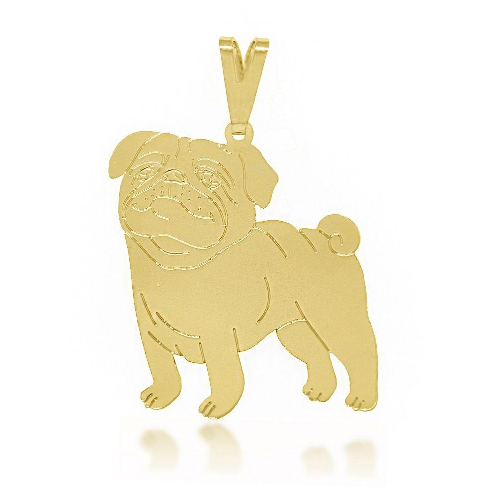 Pingente Cachorro Pug Folheado a Ouro 18k