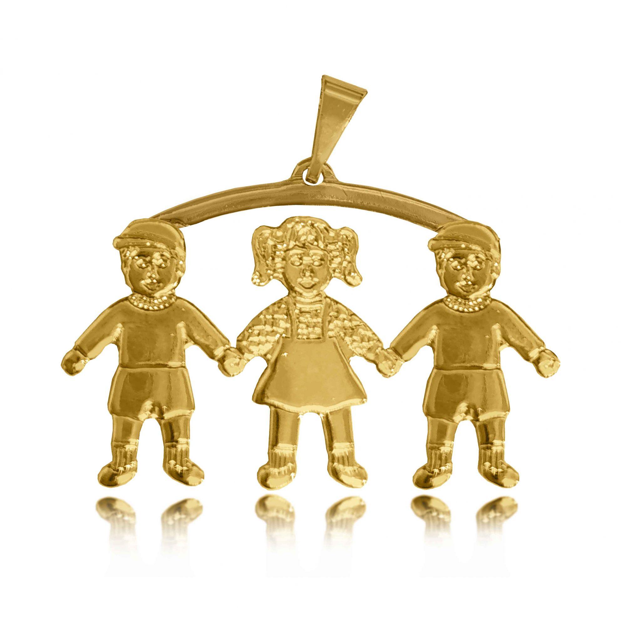 Pingente Canga 2 Meninos e 1 Menina Folheado a Ouro 18k  - Lunozê Joias