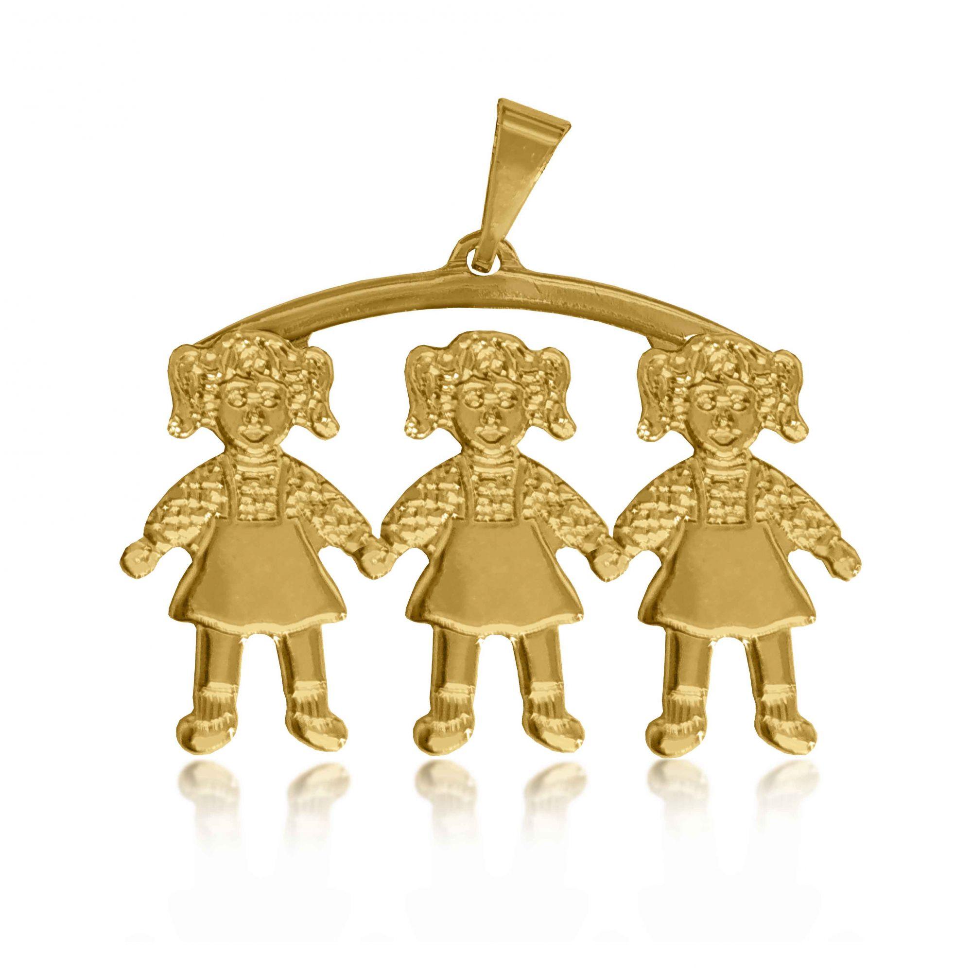 Pingente Canga 3 Meninas Folheado a Ouro 18k  - Lunozê Joias