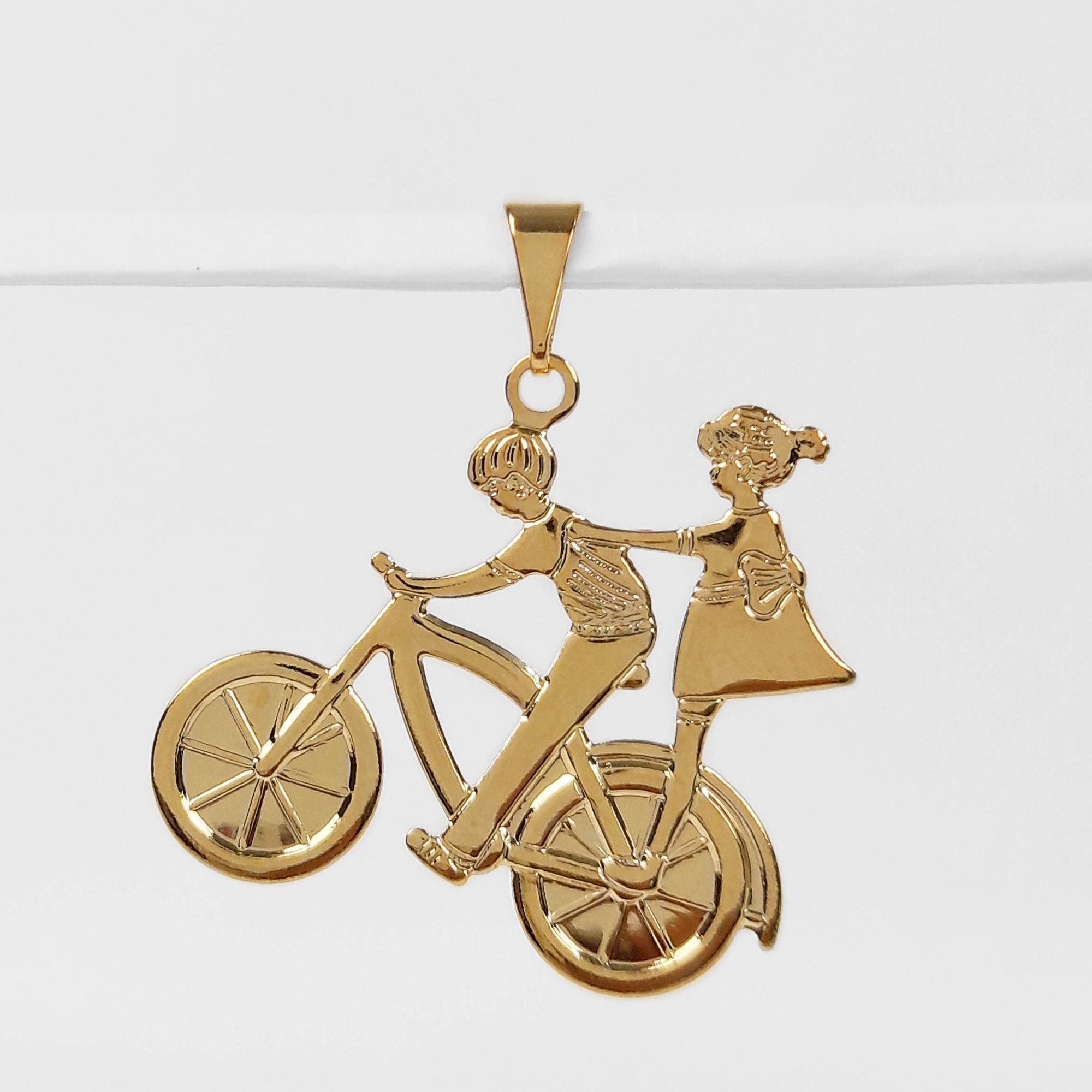 Pingente Casal de Namorados Bicicleta Folheado a Ouro 18K  - Lunozê Joias