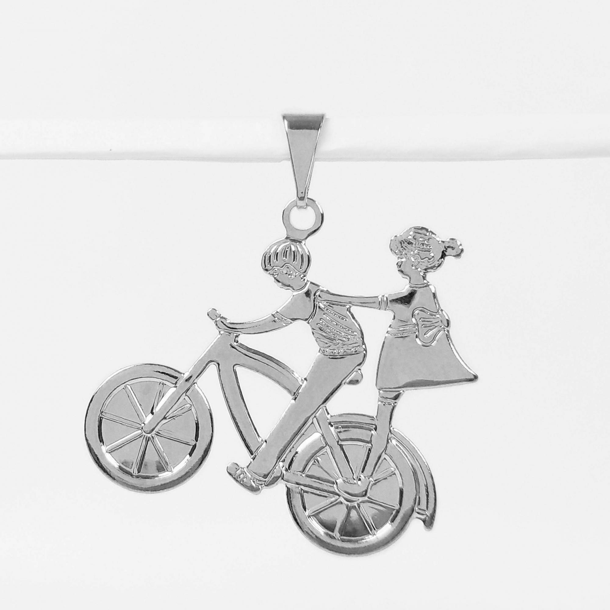 Pingente Casal de Namorados Bicicleta Folheado a Prata 1000  - Lunozê Joias