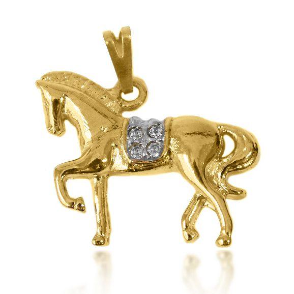 Pingente Cavalo Micro Zircônia Banho Misto (Ouro 18k+ Ródio)
