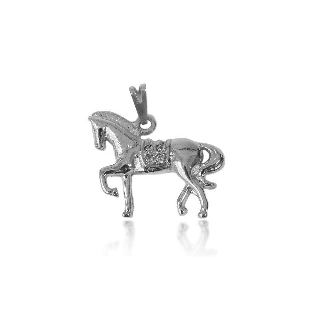 Pingente Cavalo Micro Zircônia Folheado a Prata 1000