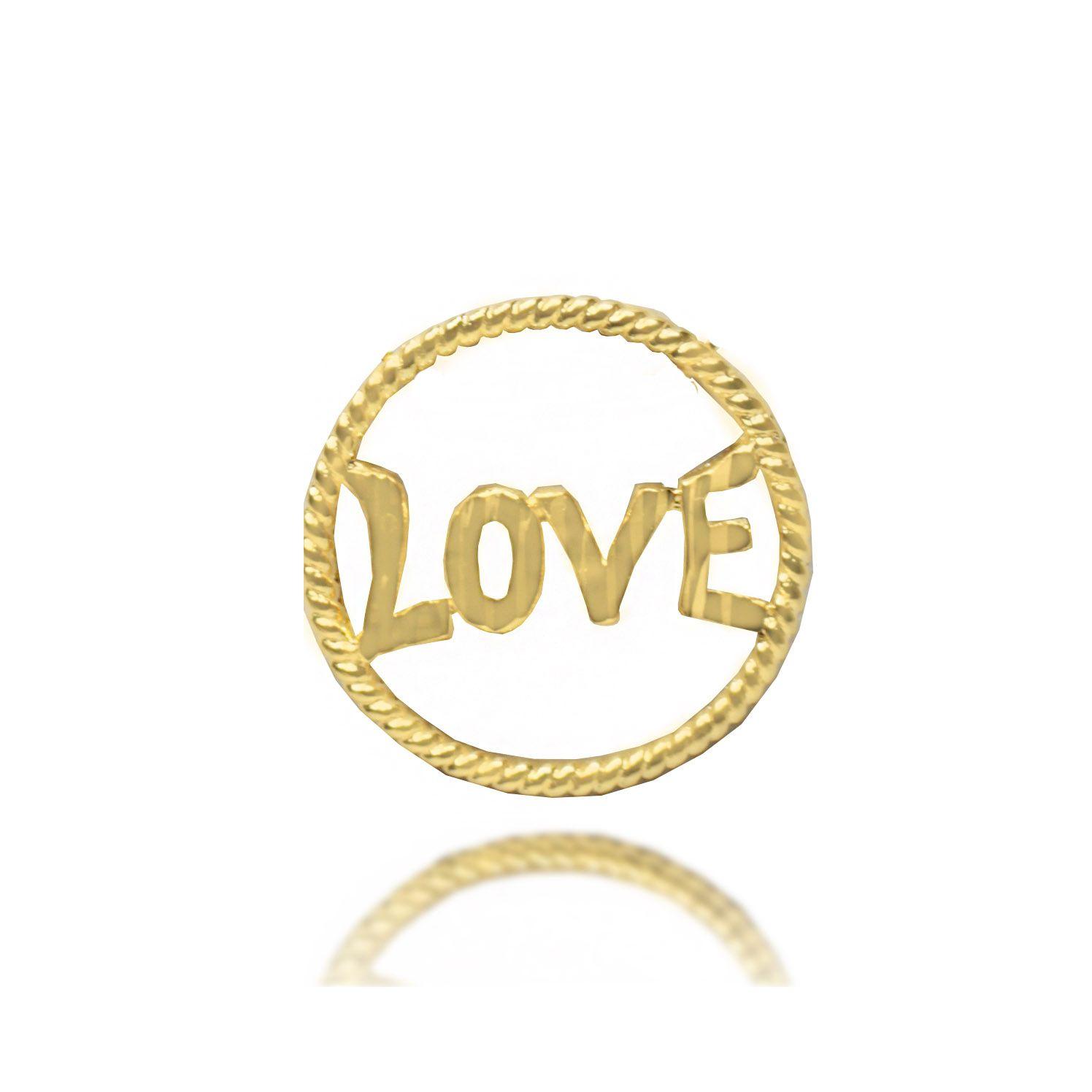 Pingente Circle Love  Folheado Ouro 18k