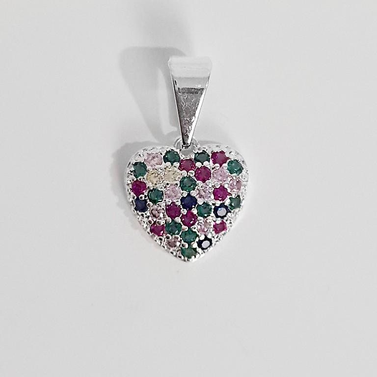 Pingente Coração Colorido Folheado a Prata 1000  - Lunozê Joias