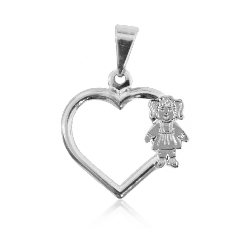 Pingente Coração com 1 Menina Folheado a Prata 1000  - Lunozê Joias