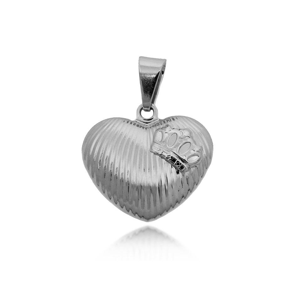 Pingente Coração com Coroa Folheado Prata 1000