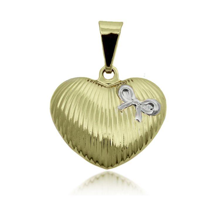 Pingente Coração com Laço Folheado Ouro + Ródio