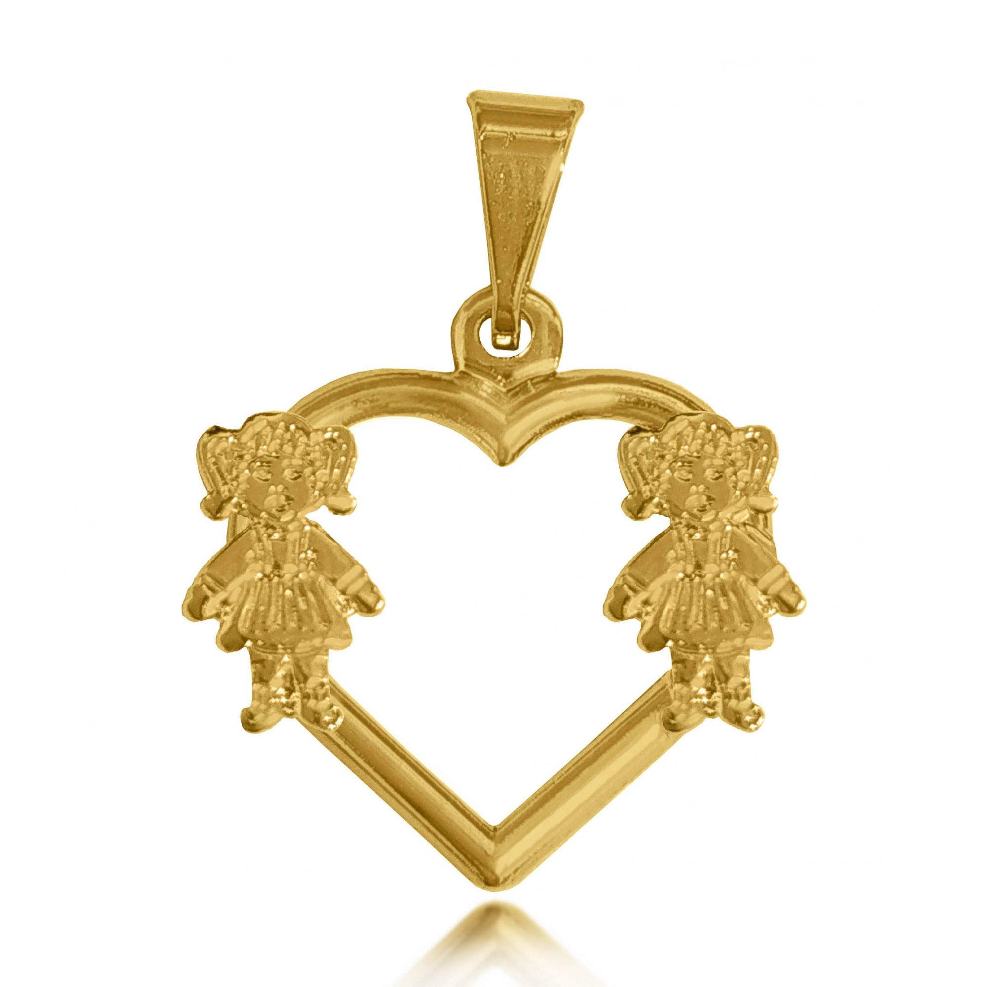Pingente Coração e 2 Meninas Folheado a Ouro 18k  - Lunozê Joias