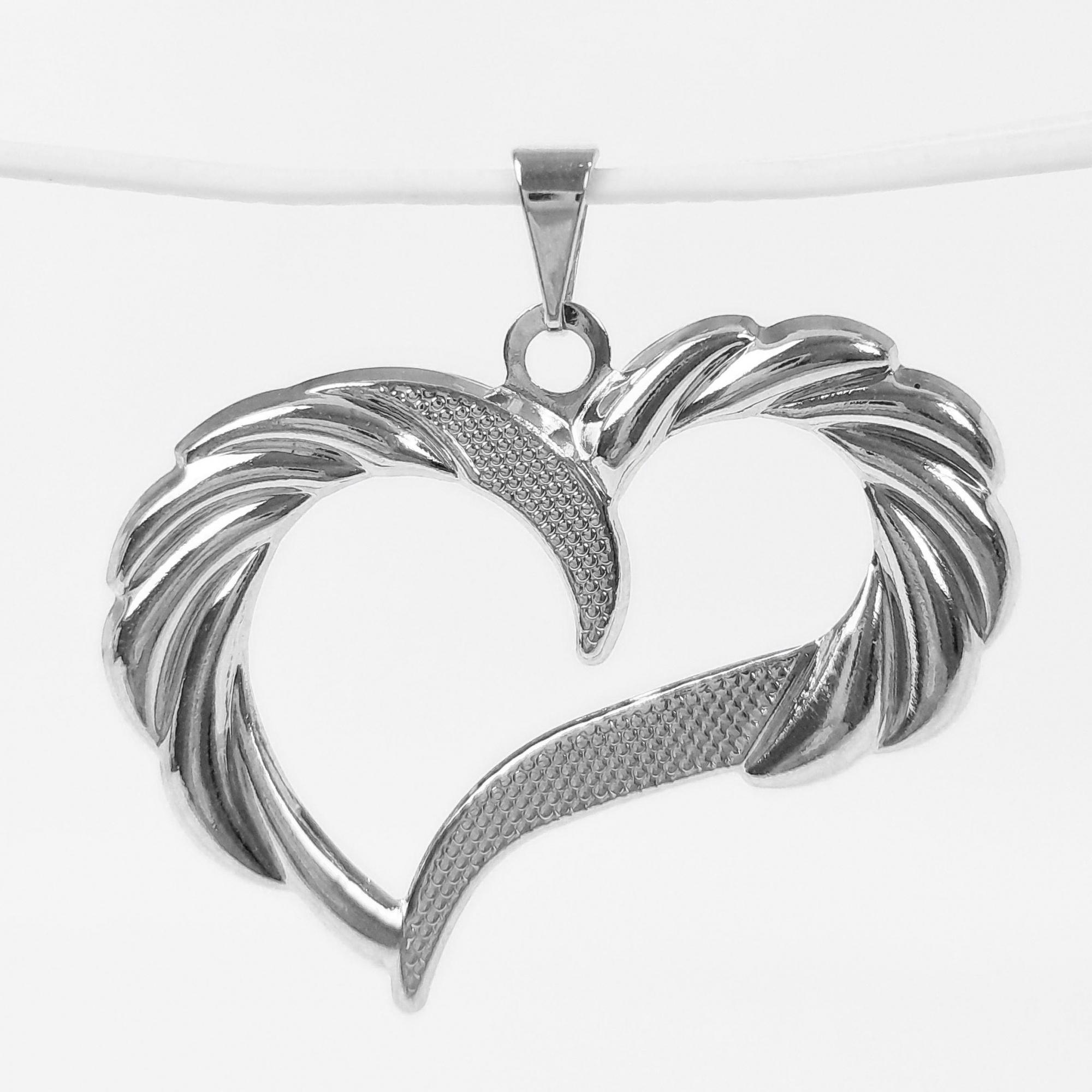 Pingente Coração Grande Folheado a Prata 1000  - Lunozê Joias