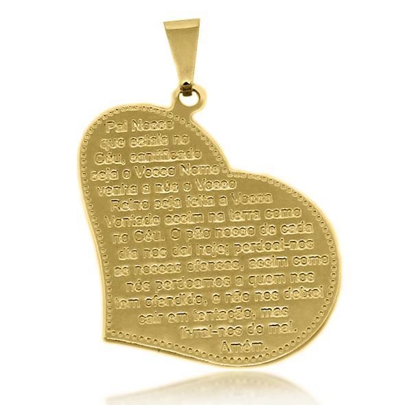 Pingente Coração Pai Nosso Folheado Ouro 18k