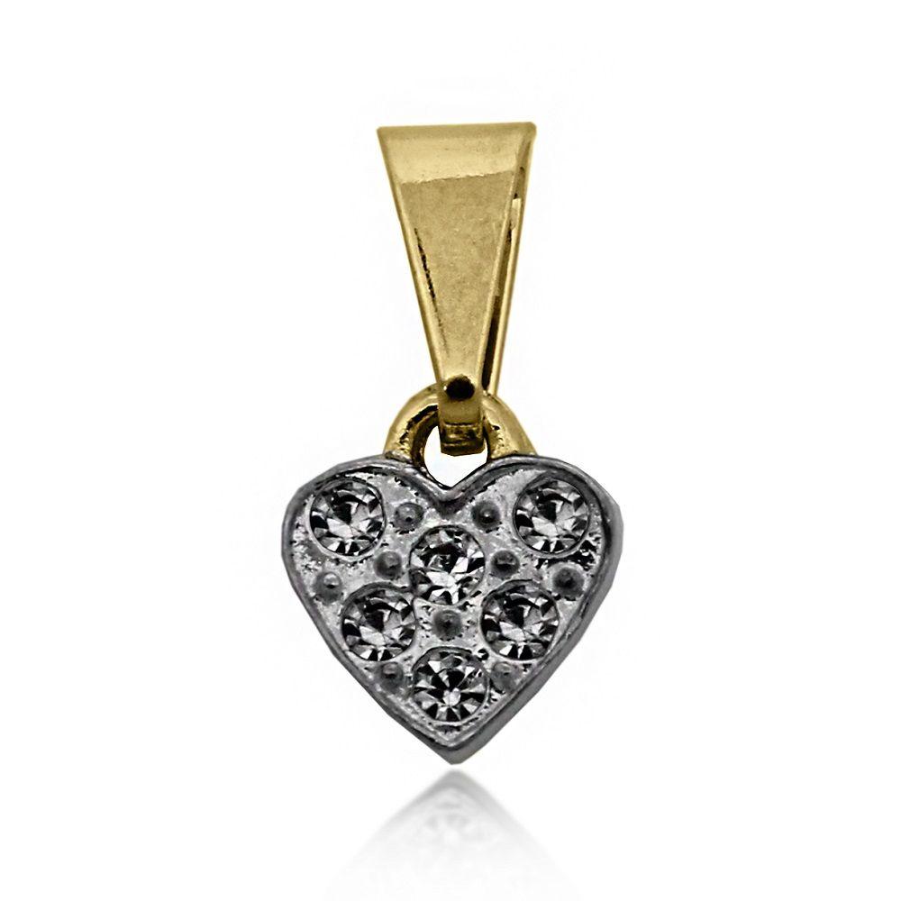 Pingente Coração Pequeno Cravejado Folheado Ouro 18k + Ródio