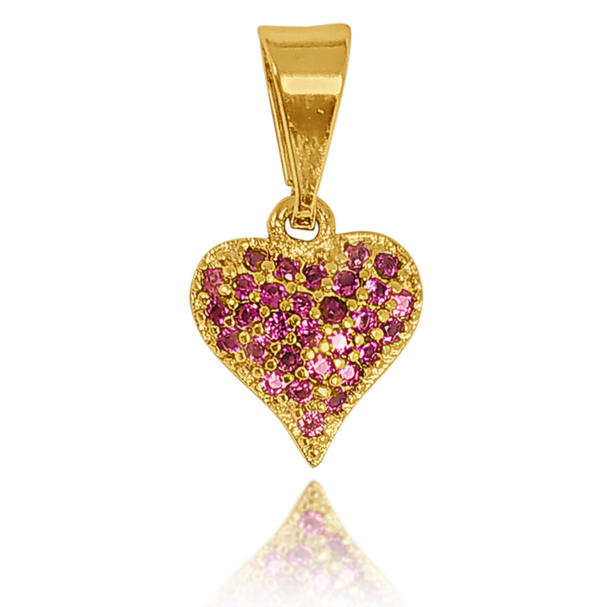 Pingente Coração Cravejada com Zircônia Folheado a Ouro 18k