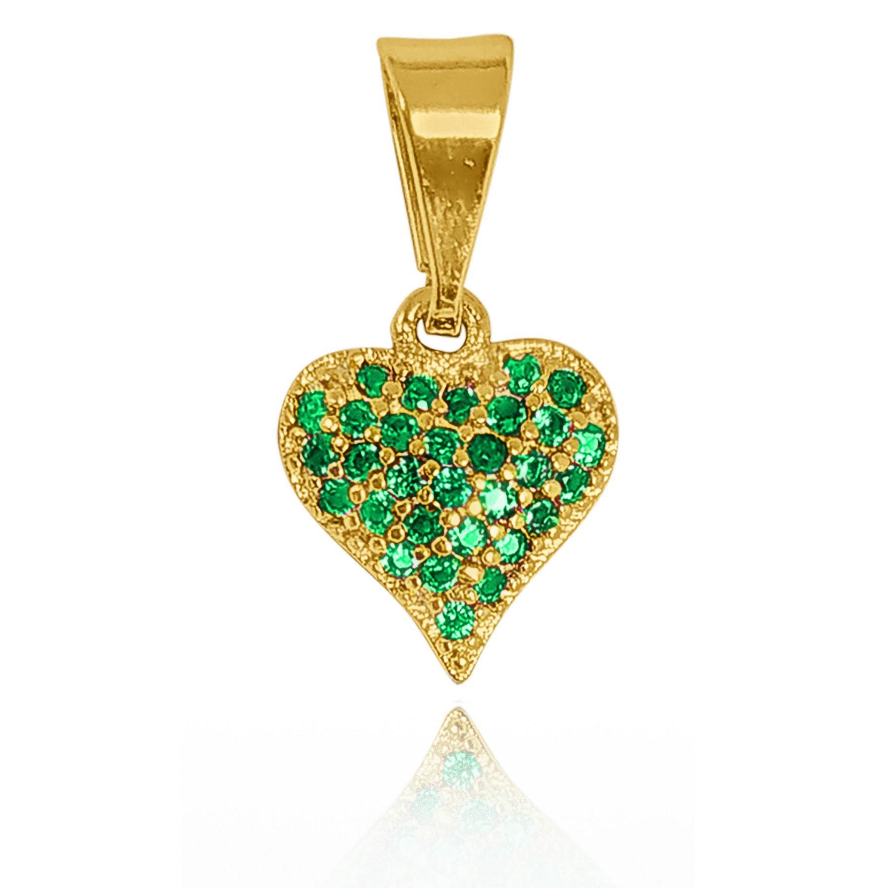 Pingente Coração Cravejado com Zircônia Folheado a Ouro 18k  - Lunozê Joias