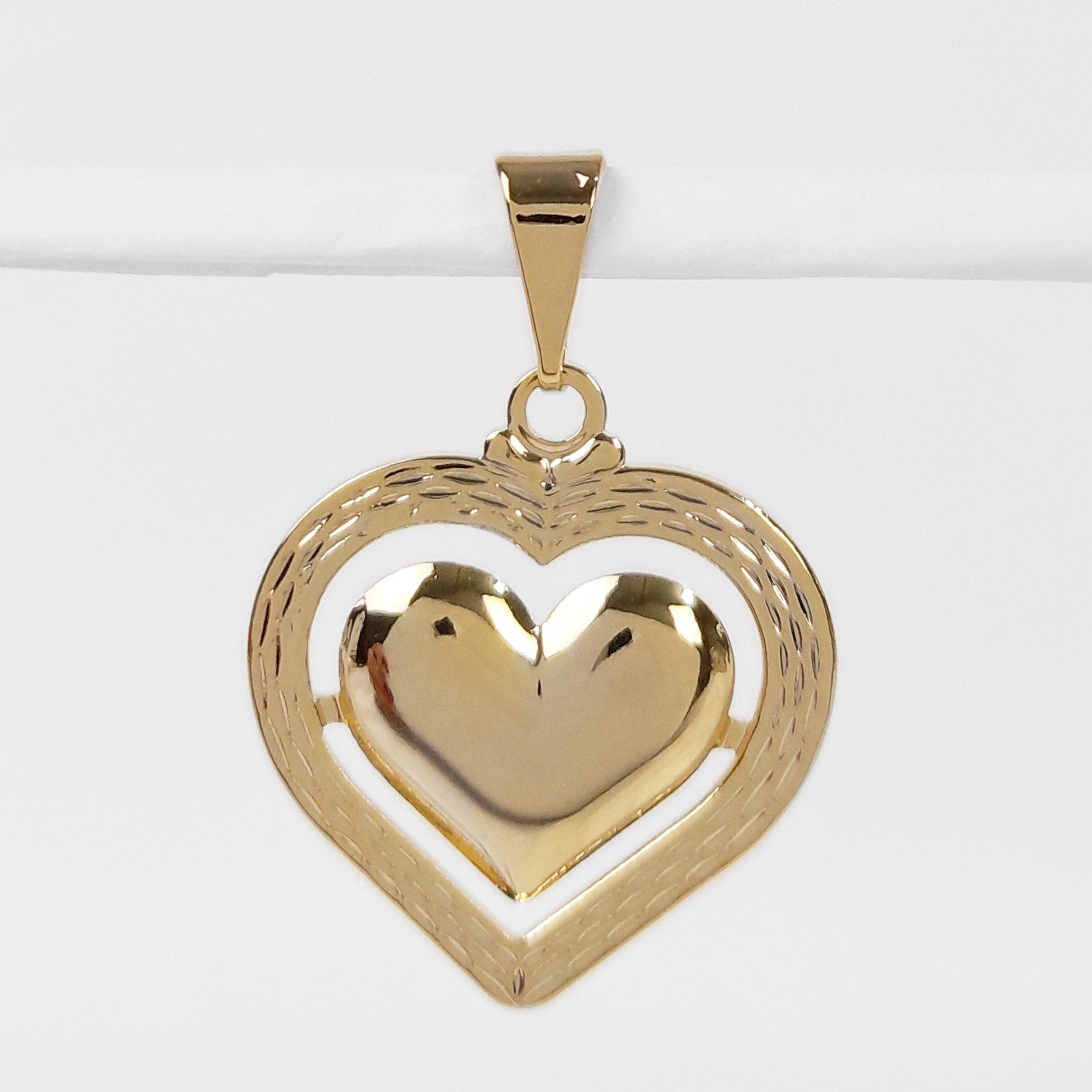 Pingente Coração Trabalhado Folheado a Ouro 18K  - Lunozê Joias