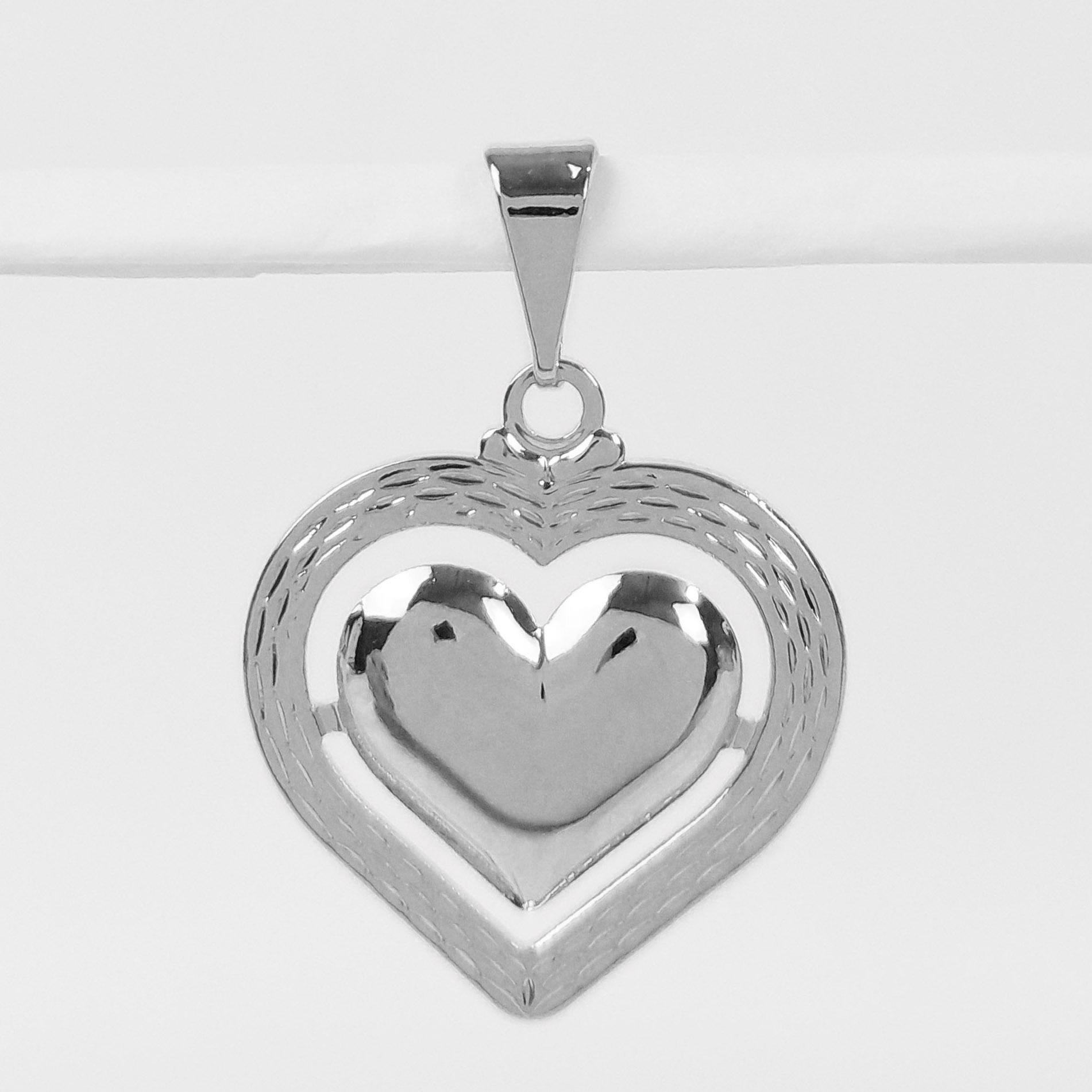 Pingente Coração Trabalhado Folheado a Prata 1000  - Lunozê Joias