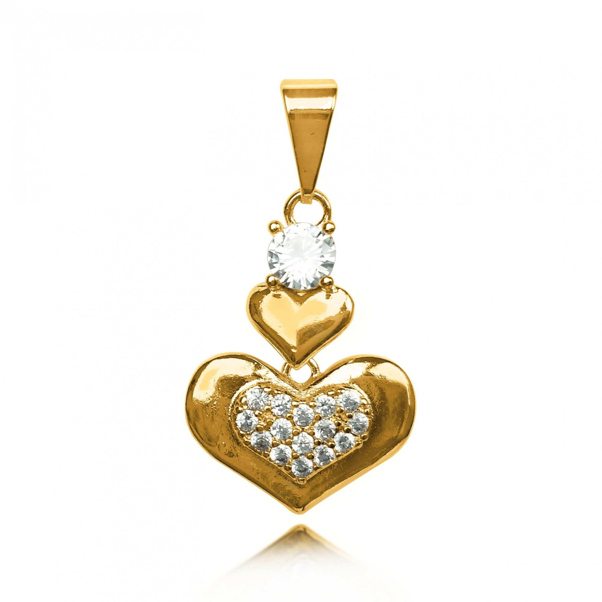 Pingente Corações com Zircônia Folheado a Ouro 18k  - Lunozê Joias