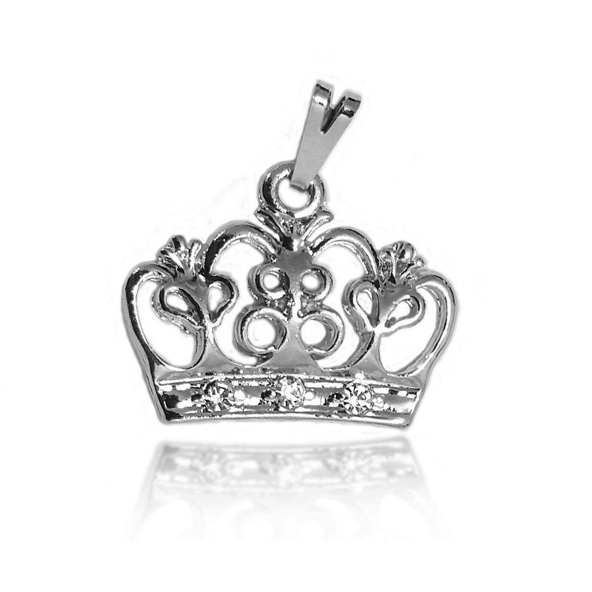 Pingente Coroa Arabesca Folheado a Prata 1000