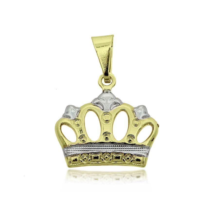 Pingente Coroa Folheado a Ouro + Ródio