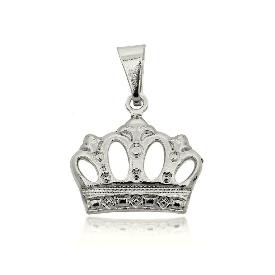 Pingente Coroa Folheado a Prata 1000